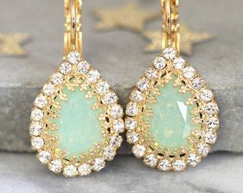 Mint Opal Swarovski Earrings,Swarovski Mint Opal Drop Earrings,Bridesmaids Mint Earrings,Mint Opal Crystal Gold Earrings,Bridal Earrings