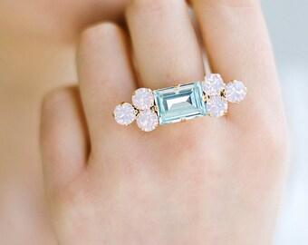 Aquamarine Ring,Swarovski Cocktail Ring, Statement Ring, Swarovski Ring, Rose Quartz Serenity, Pastel Jewelry, Gift For Her, Swarovski Ring