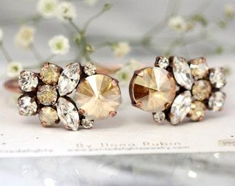 Champagne Bracelet,Swarovski Bridal champagne bracelet,Bridal Rose Gold Bracelet, Bridal Bracelet,Bridesmaids Gifts,Vintage  Bracelet