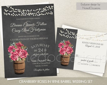 Rustic Wedding Invitation Vineyard Wine Country Wedding