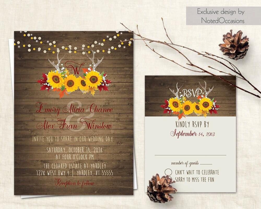 Rustic Fall Wedding Invitation Deer Antler Wedding Sunflower