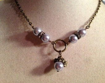 Lavender Pearl Necklace - Brass Jewelry - Pendant Jewellery - Chain - Charms - Chic - Trendy - Chain