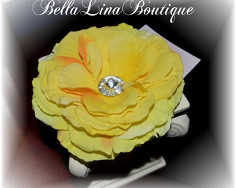 """Yellow Boutique Girls Flower Hair Clip - Boutique Flower Clippie - Over 5"""" - Ready to Ship!"""