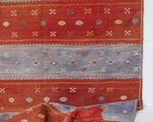 Vintage hand-dyed Tunisian rug/ blue and  orange/ flat weave area rug