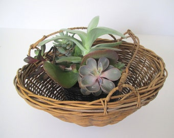 Mid century hanging planter/ woven basket hanging planter/boho decor