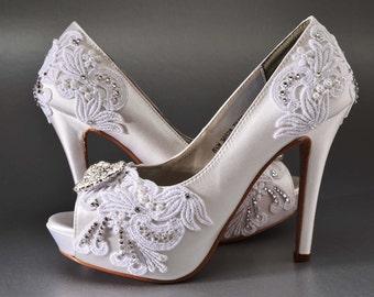 Items similar to Black Lace Wedding Shoes, Black Lace Bridal Shoes ...