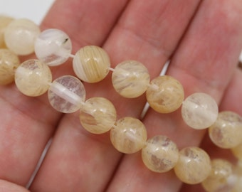 CLEARANCE. Golden Yellow Banded Quartz Beads - 8mm Round - Full Strand