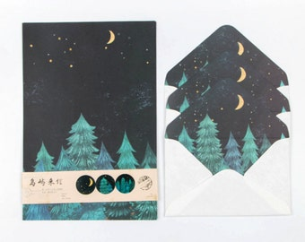 Starry Forest Letter Set Letter Envelopes Writing Paper Sets