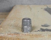 Antique Simon Brothers Thimble Size 7 Paneled Late 1800s Nickel Silver Vintage Collectible Sewing Tool Assemblage Jewelry Supplies