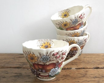 Four Vintage Cups Reynolds by Copeland Spode S 2188 for Tea or Coffee Small Serving Dishes or Ice Cream Dessert Bowls Florals Cottage Decor