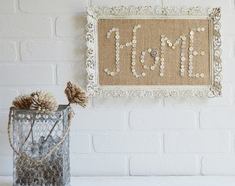 Burlap Wall Art, Burlap Wall Decor, Burlap Wall Hanging, Button Wall Art, Button Wall Decor, Framed Quotes, Home Sign, Home Wall Art