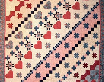 Double Bed Quilt, 0513-0, Hearts and Stars Quilt