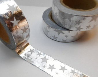 White Stars on Silver Foil Washi Tape - Paper Tape Great for Scrapbooking Paper Crafts and Mixed Media - Shiny Stars 15mm x 10m