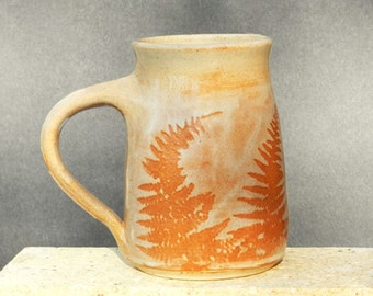 Red Fern Mug, 26oz. Handmade, Microwave friendly, Stoneware