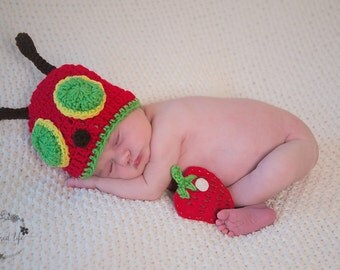 Newborn Hungry Little Caterpillar Hat & Strawberry