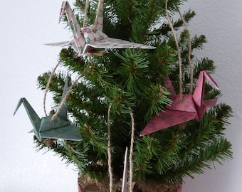 Origami Ornaments - Set of 4 Coordinating Cranes - FREE Gift Box AND FREE Shipping!