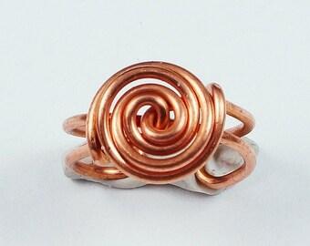Summer Sale - 10% off - Spiral Button Ear Cuff - Copper