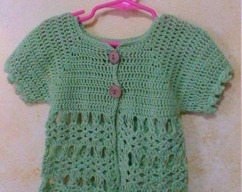 Hand Crocheted Green Baby Size 2Toddler Girl Cotton Lace Cardigan top with Wood Buttons Free Shipping