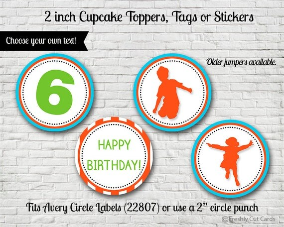 "Everybody Jump 2"" Treat Toppers or Labels - Printable"