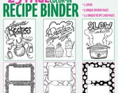 Color-in recipe binder Coloring Book for Adults - digital download
