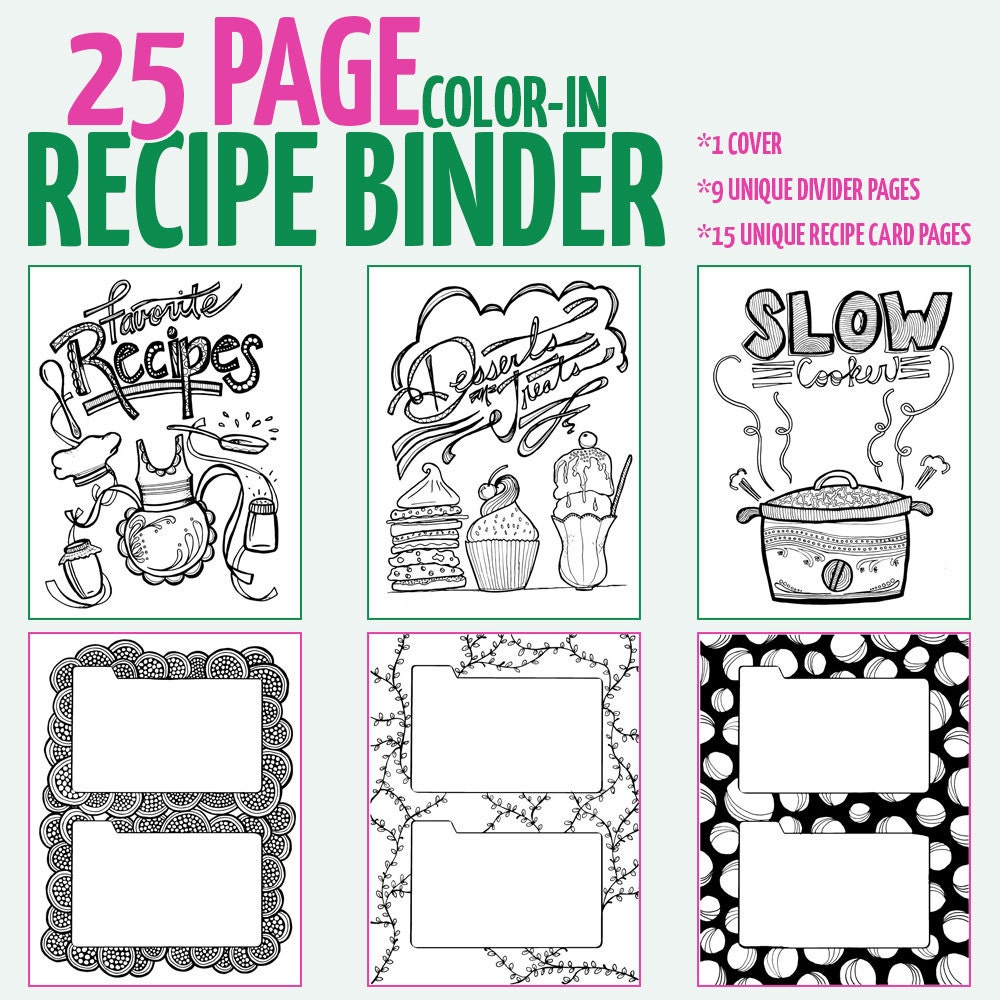 Cookbook Cover Coloring Page : Color in recipe binder coloring book for adults digital