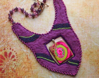 Felted Necklace Wearable Art Tye Dye Jewelry Bead Embroidery Polymer Statement Necklace