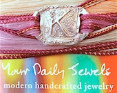 Wax Seal Jewelry Silver Initial Silk Wrap Bracelet . Yoga Jewelry . Hand Dyed Silk Ribbon. Design Your Own Charm Bracelet
