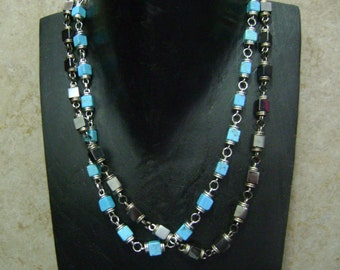 Men's Hematite or Turquoise Stone Square Bead & Chain Linked Necklace - YOU CHOOSE