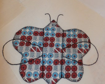 "Vintage Lot Butterfly Quilt Blocks To Be Finished Great Vintage Fabrics 12"" Muslin Squares"