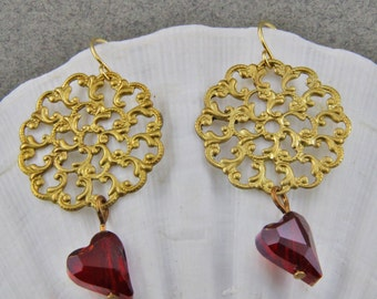 Handmade Brass  and Red Czech Glass Heart Earrings