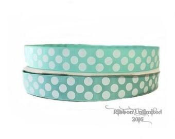 10 Yds WHOLESALE 7/8 Inch Aqua Jumbo Polka Dots grosgrain ribbon LOW SHIPPING Cost