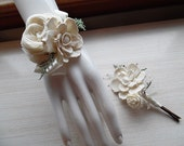 Wrist Corsage and/or Boutonniere, Sola Flowers, Rustic Country Wedding, Corsage & Boutonniere. Made to Order.