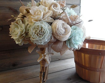 Ready to Ship ~~~ Sea Shell Beach Bouquet Large, Sola Flowers, Light Sea Foam Mint Sola Flowers, Sea Shells, Jute, Netting.