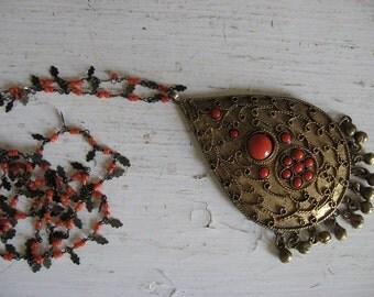 Tibetan Nepalese Necklace Very Large Pendant Very Long Chain Handmade Stunning! Great Statement Piece!