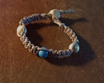 Hemp Bracelet 1 Dyed Howlite Blue Bead 3 Cream Colored Wood Beads 6 1/2 Inches Handmade Natural Tan Hemp