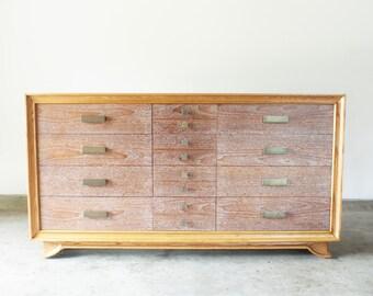 American Mid Century Modern Walnut and Oak Dresser Credenza