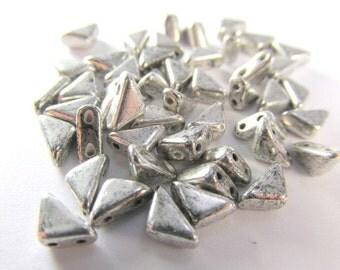 Labrador Silver Two Hole  Czech Glass Triangular Tango Jewelry Beads (25)