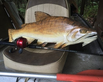 """Flathead Catfish 31"""" woodworking sculpture chainsaw wooden fish carving freshwater taxidermy wall mount original realistic art lake lodge"""