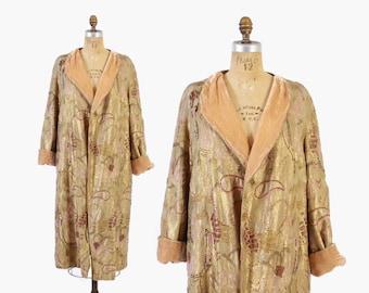 Vintage 20s Gold LAME COAT / 1920s Fully BEADED Peach Silk Velvet Lining S