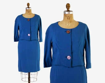 Vintage 60s Blue SUIT / 1960s Bright Sky Blue Tailored Pencil Skirt and Blazer Jacket Set S