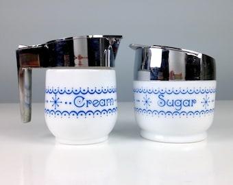 Gemco Blue Snowflake Cream and Sugar Bowl Set - Blue Nd White Pyrex Type Glass