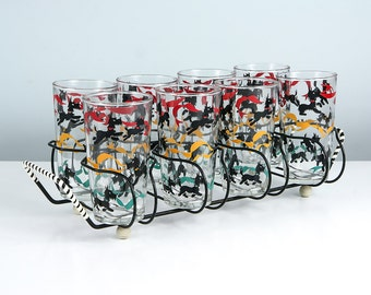 Vintage Scottie Dog Barware Set, Mid Century Barware, Bar Set, Drinking Glasses, Patio Decor, Dog Lover Gift, Scotty Dog, Scottish Terrier