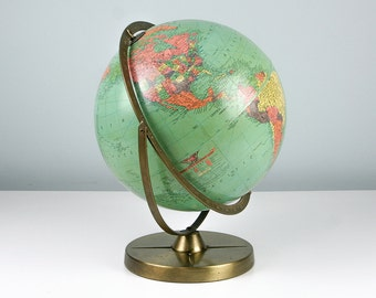 "1960 Replogle 12"" Inch Globe, World Globe, World Map, Desk Globe, Mid Century Globe Map, Globe Vintage Office Decor"