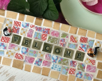 Mosaic Welcome Sign - Welcome Sign - Country style sign - chicken sign - welcome - shabby chic - cottage chic sign mosaic sign - rustic sign