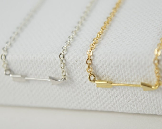 Arrow Necklace, Gold Silver Rose Gold Layering Necklace Simple Everday Necklace Sideways Arrow Necklace Gold Minimalist Arrow Necklace
