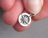 Sterling Silver Compass Charm, Sterling Silver Compass Pendant, Bracelet Charm, Necklace Pendant with Jump Ring