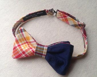 Men's Bow Ties / Custom Made Bow Ties / Navy Blue Silk And Plaid Cotton Bow Tie / Pre-Tied Bow Ties / Wedding Bow Ties / Handmade Bow Ties