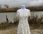 Rose ls Dress // 90s Vintage Floral Rose Print Dress Small XS