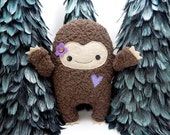 Big Foot girl plush stuffed toy in purple,  big foot plushie, sasquatch, kawaii big foot stuffed toy, monster stuffed animal, girlie monster