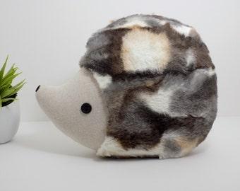 Hedgehog pillow plush toy in light multi tone, hedgehog stuffed animal, woodland nursery decor hedgehog